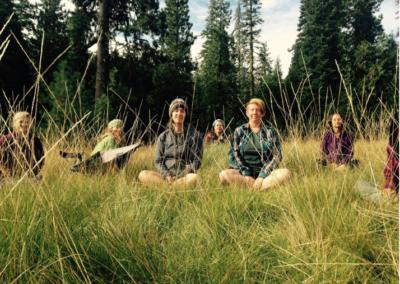 women grass